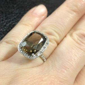 Jewelry - 6ctws genuine diamond &smoky quartz ring 10k gold
